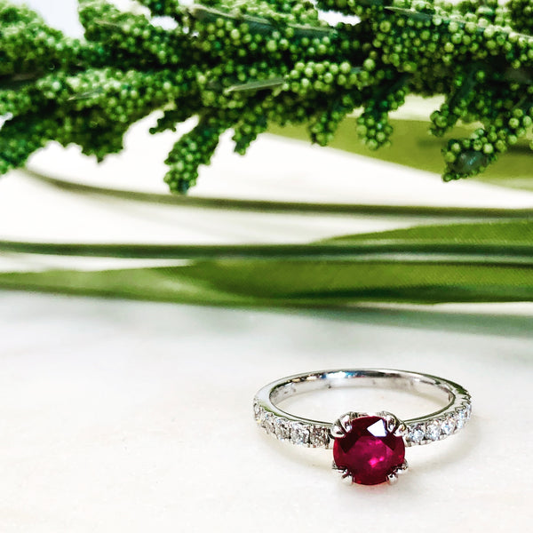14K White Gold Ruby and Diamond Ring.