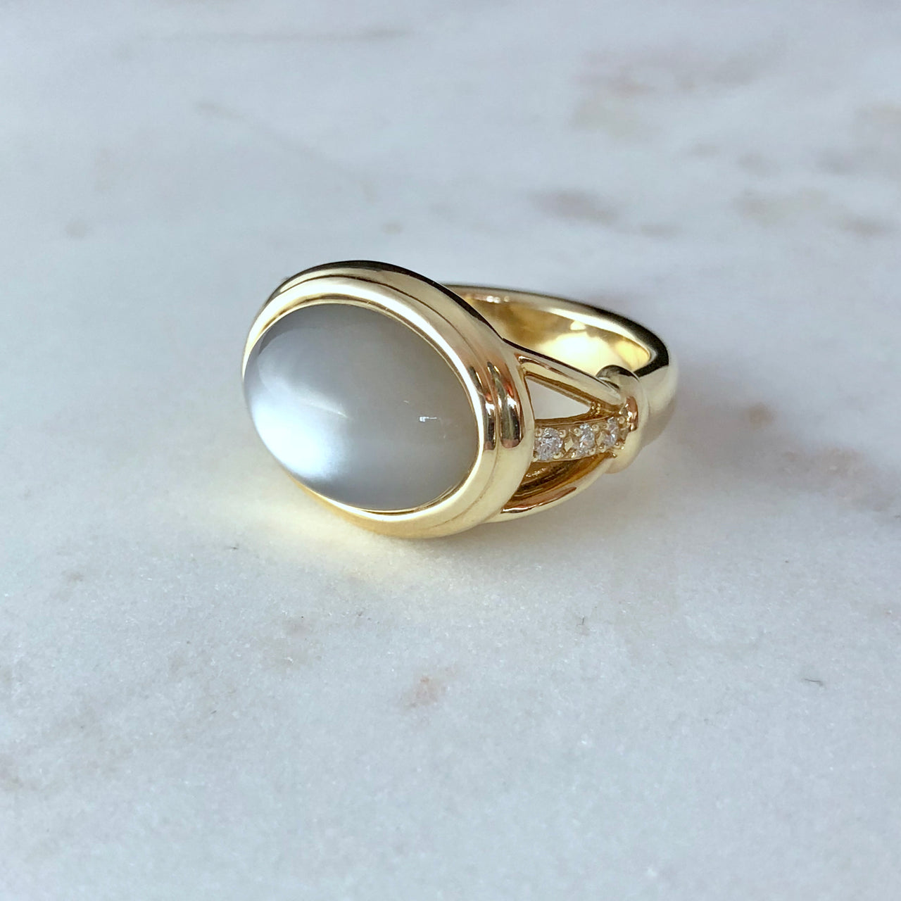 14K Yellow Gold Grey Moonstone and Diamond Ring.