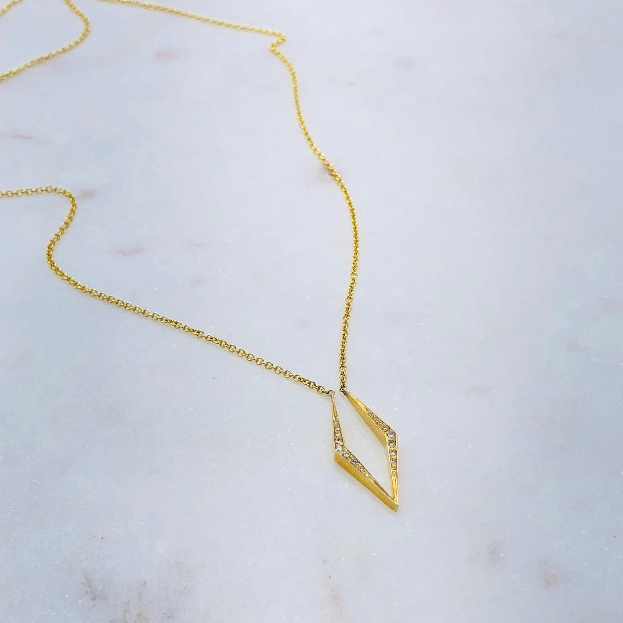 14K Yellow Gold Kite Diamond Necklace.