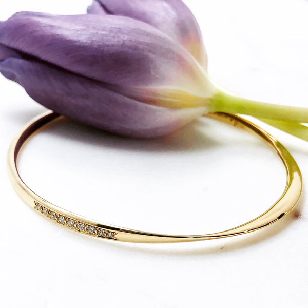 14K Yellow Gold Diamond Bangle Bracelet.