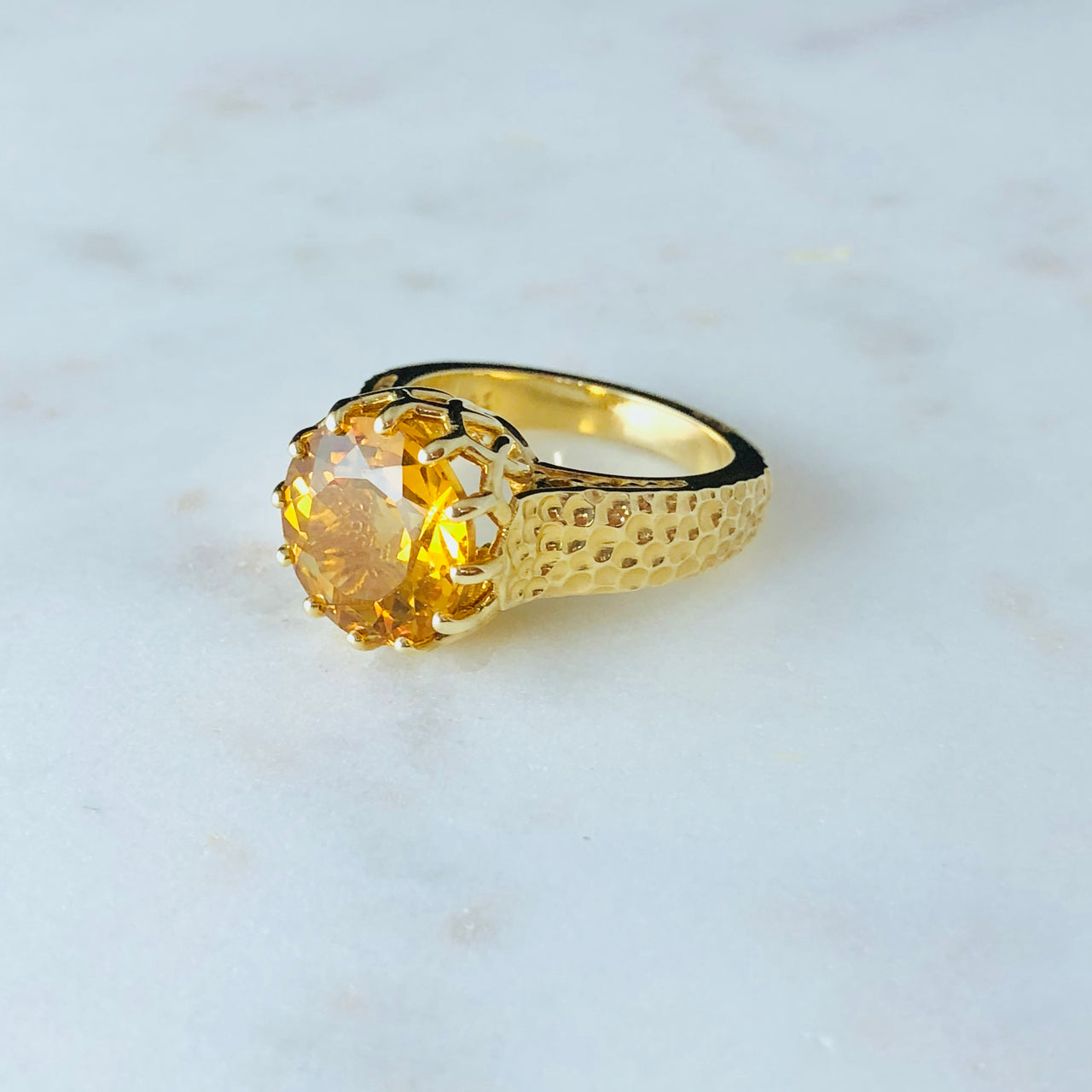 14K Yellow Gold Citrine Ring.