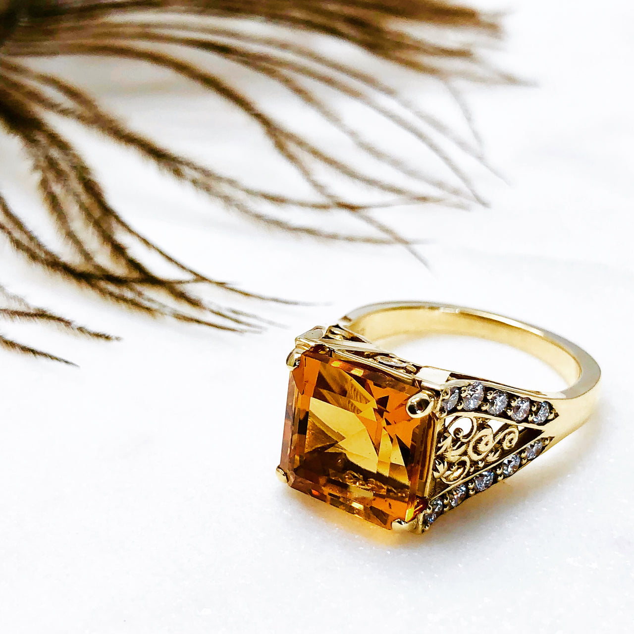 14K Yellow Gold Citrine and Diamond Ring.