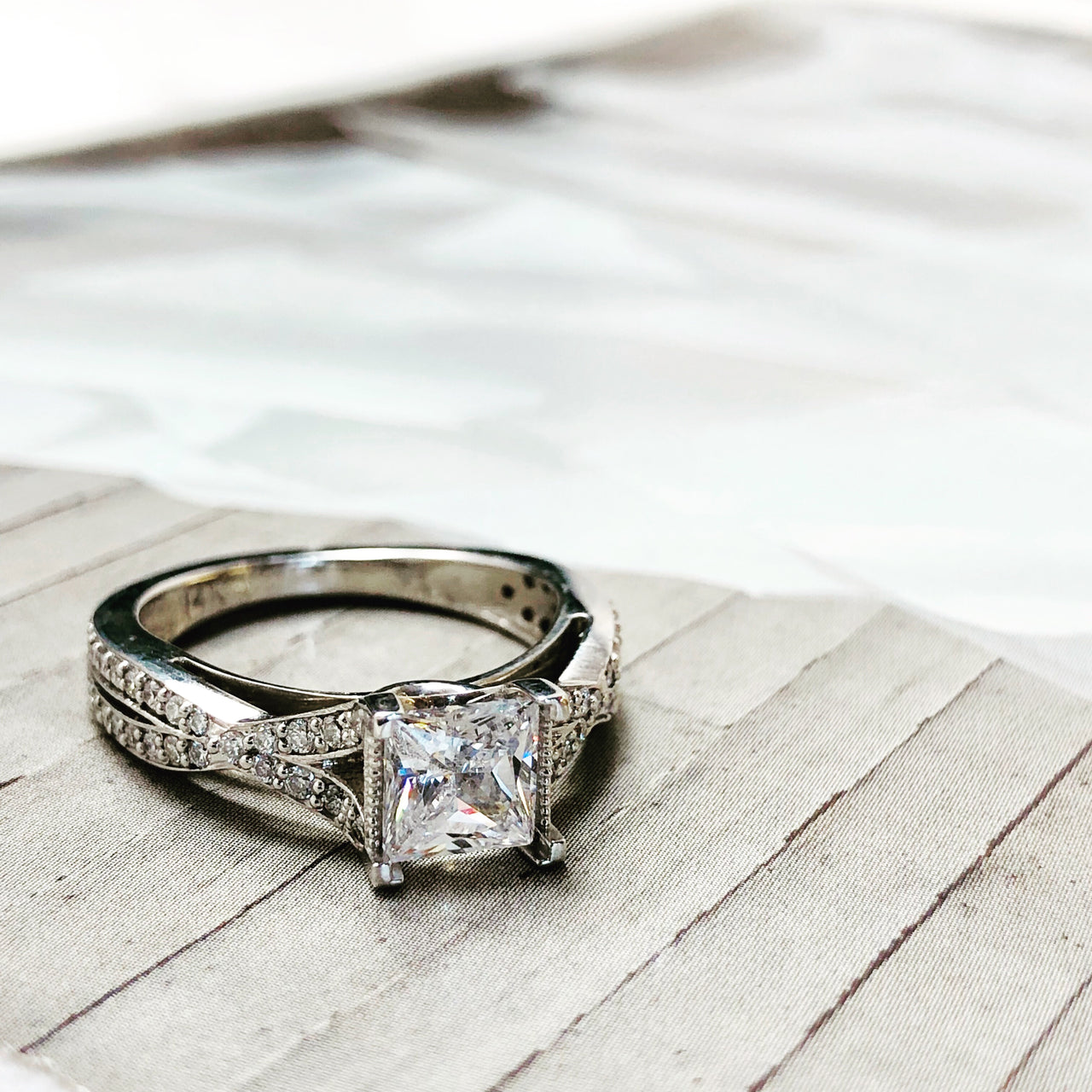 14K White Gold Semi-Mount Diamond Ring.
