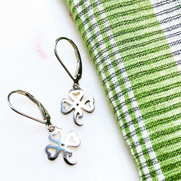 Sterling Silver Shamrock Earrings.