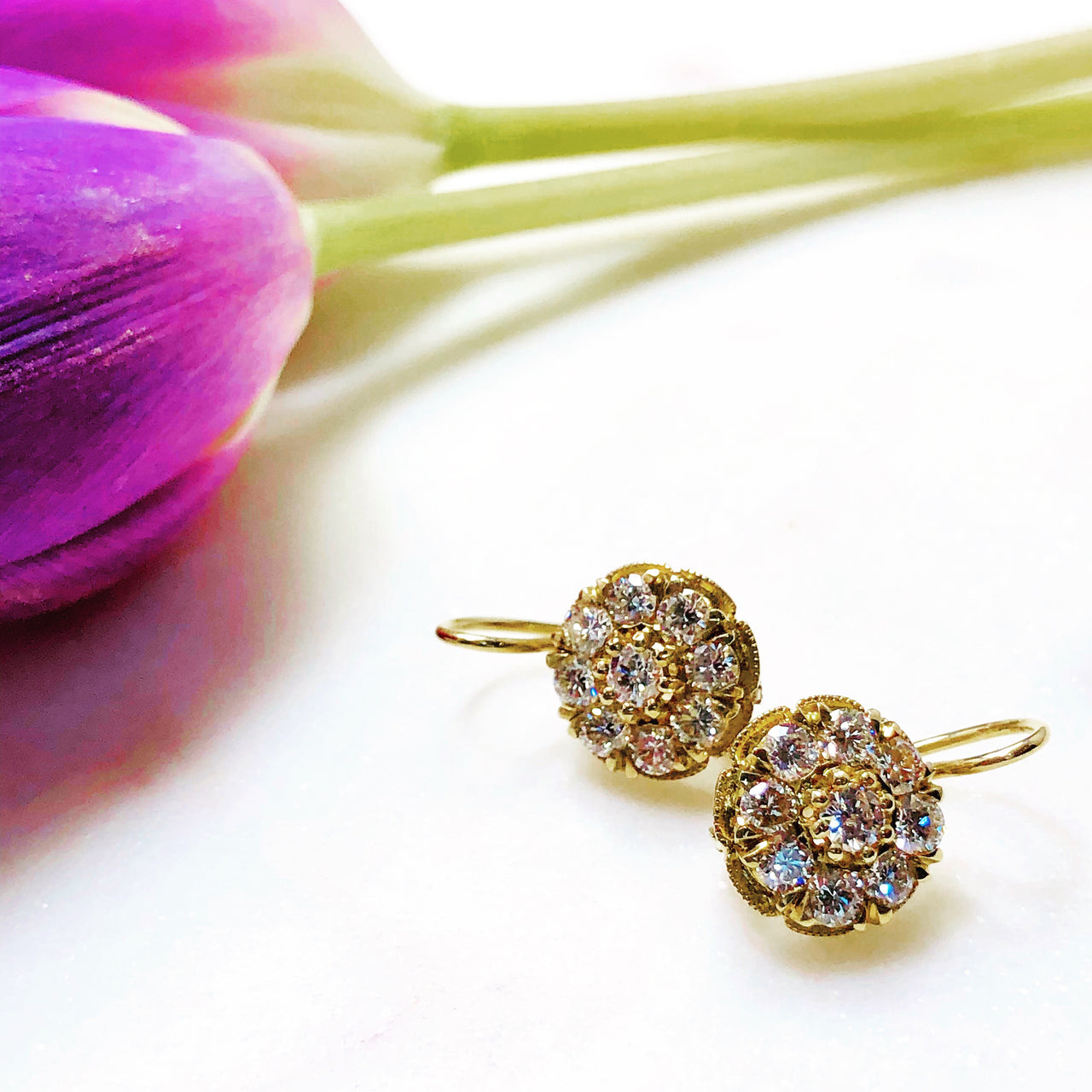 14K Yellow Gold Cluster Diamond Earrings.