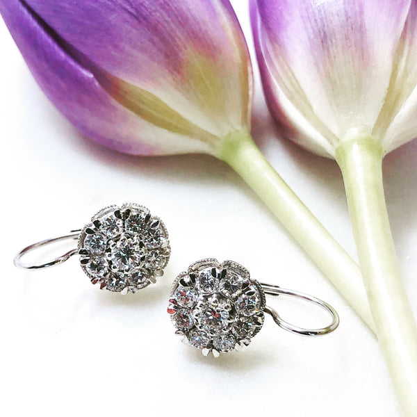 14K White Gold Cluster Diamond Earrings.