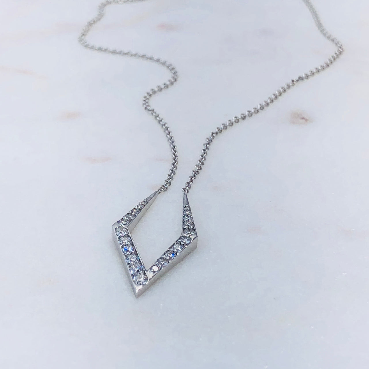 14K White Gold Kite Diamond Necklace.