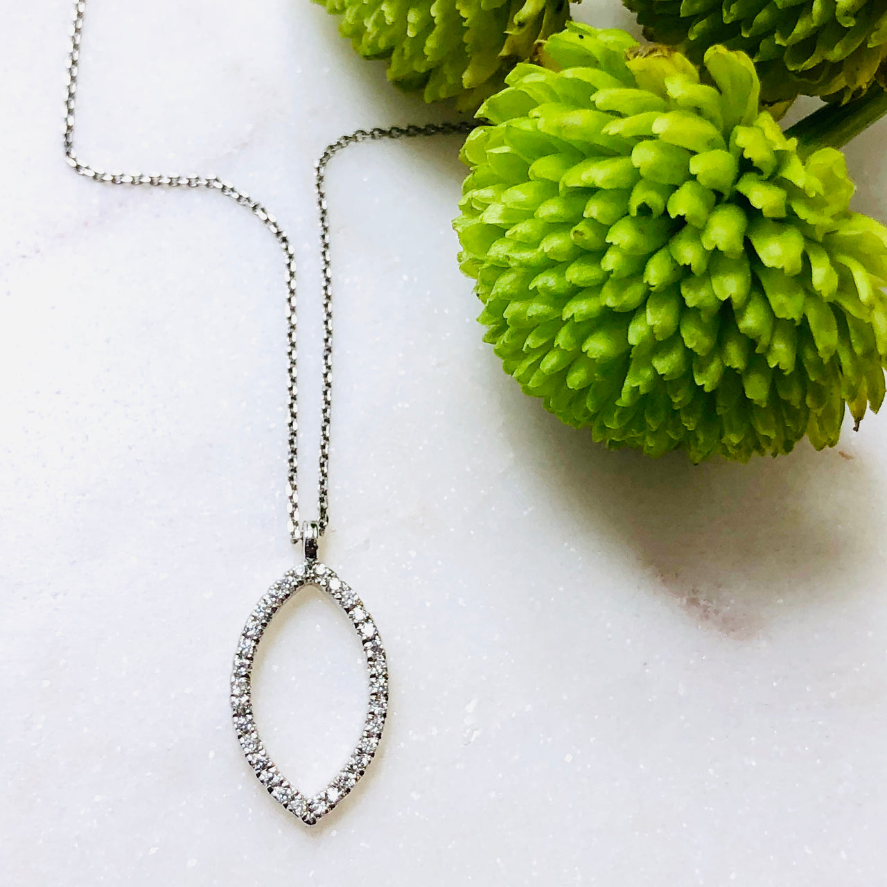 14K White Gold Marquise Diamond Necklace.