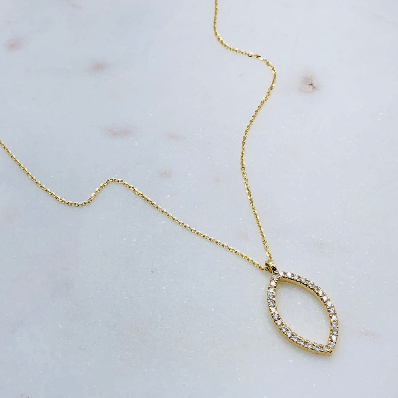 14K Yellow Gold Marquise Diamond Necklace.