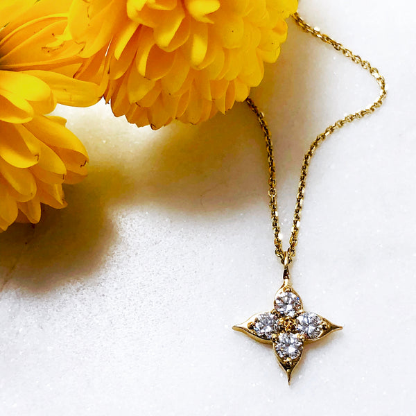 18K Yellow Gold Compass Diamond Necklace.