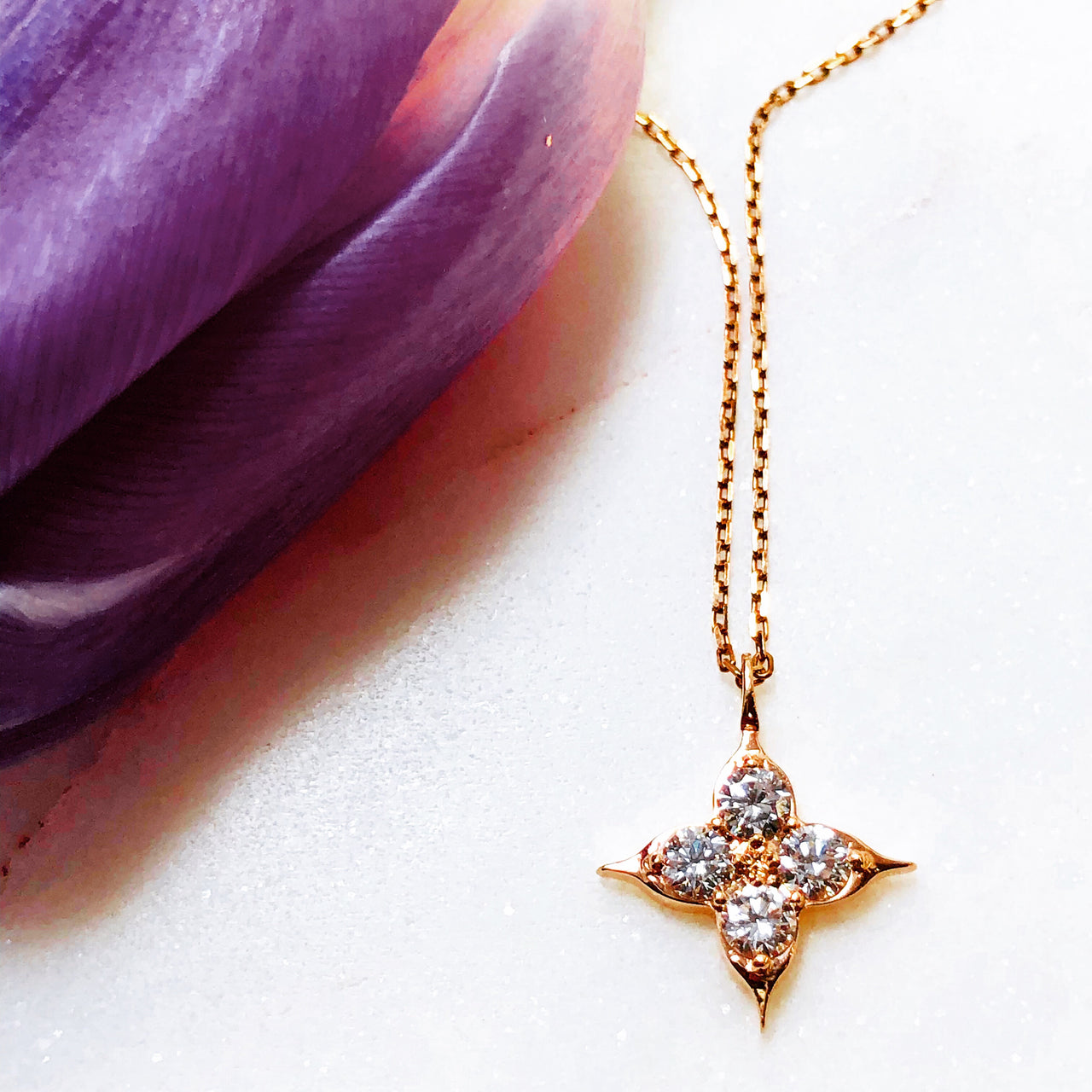 14K Rose Gold Compass Diamond Necklace.