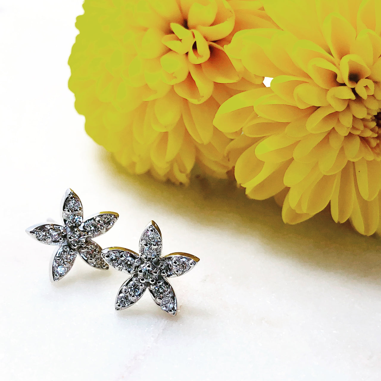 14K White Gold Star Diamond Earrings.