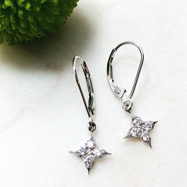 14K White Gold Compass Diamond Earrings.