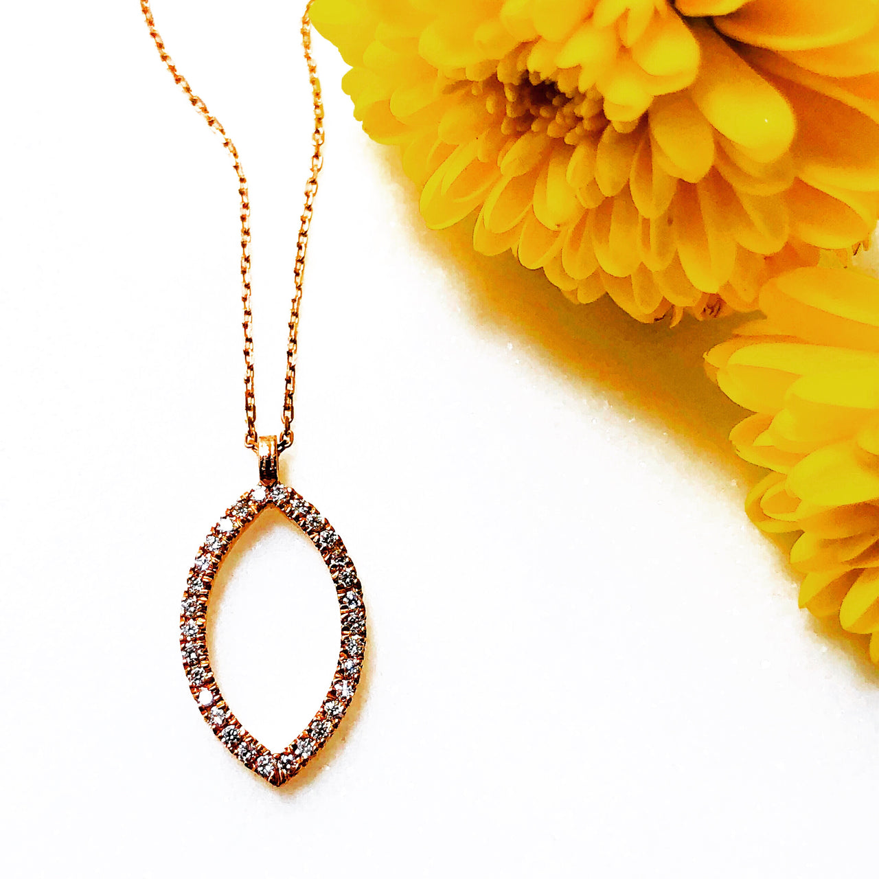 14K Rose Gold Marquise Diamond Necklace.
