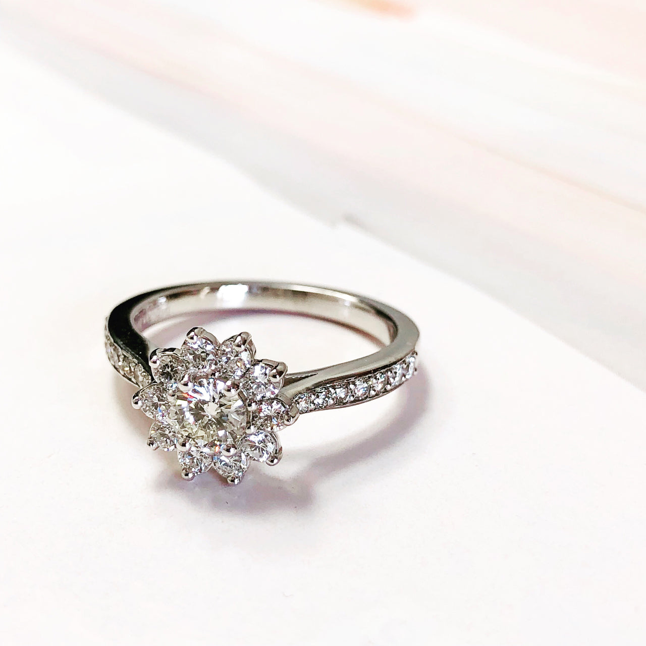 14K White Gold Cluster Diamond Ring.