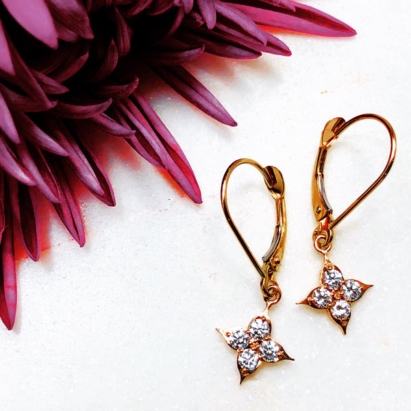 14K Rose Gold Compass Diamond Earrings.