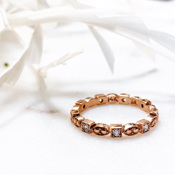 14K Rose Gold Diamond Band.