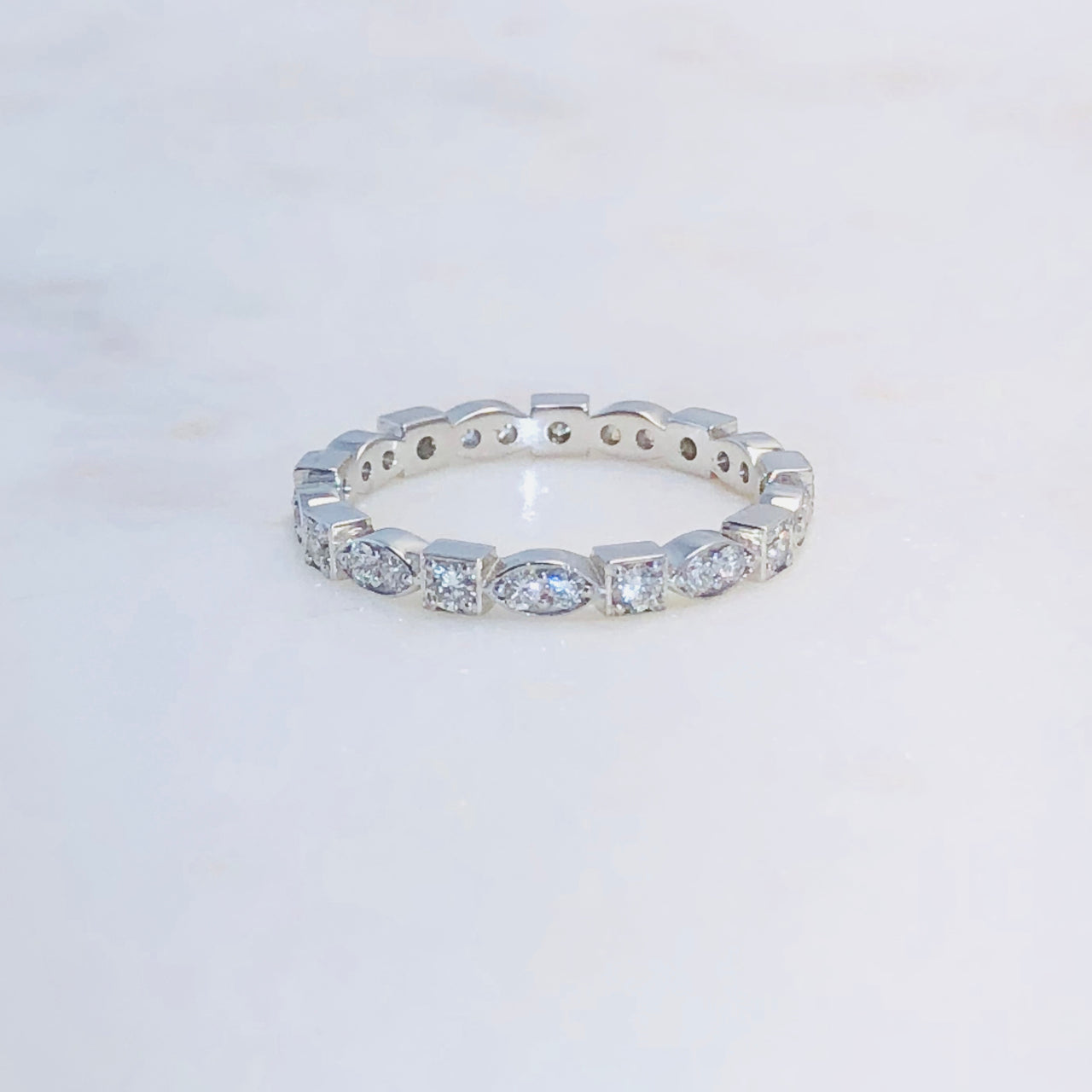 14K White Gold Diamond Band.