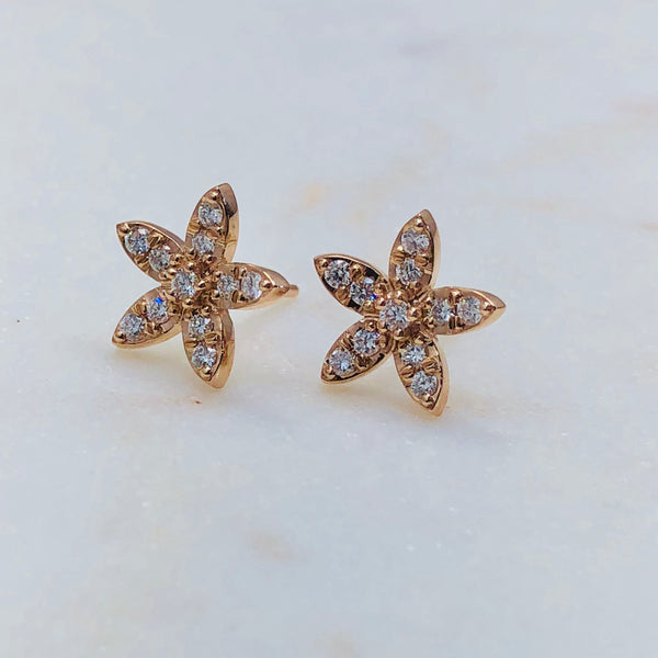 14K Rose Gold Star Diamond Earrings.