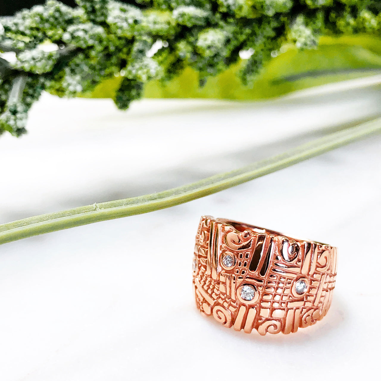 14K Rose Gold Diamond Ring.