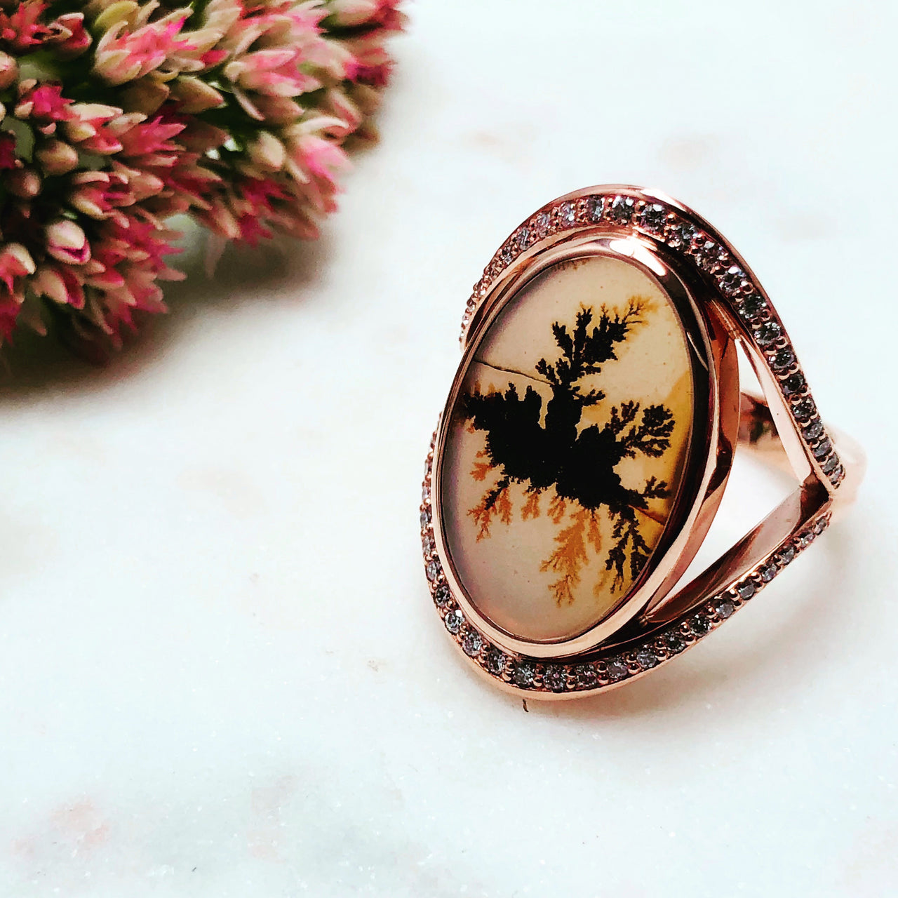 14K Rose Gold Dendritic Agate and Diamond Ring.