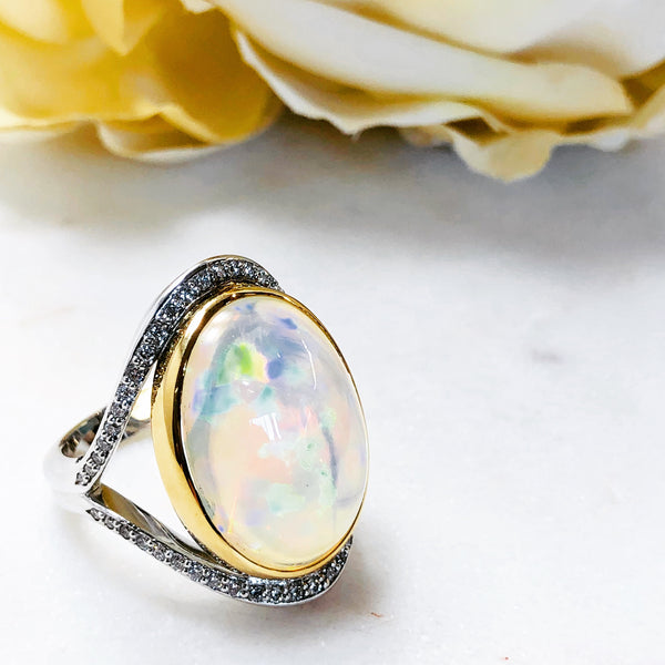 14K White and 18K Yellow gold Opal & Diamond Ring.