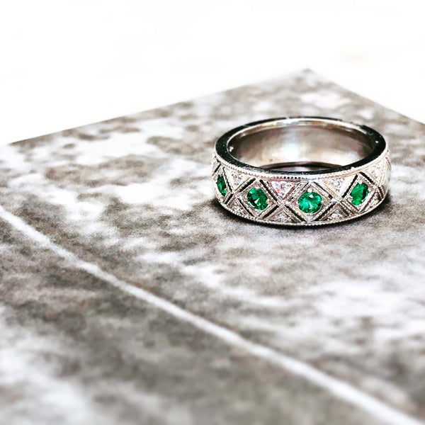 14K White Gold Emerald and Diamond Band.