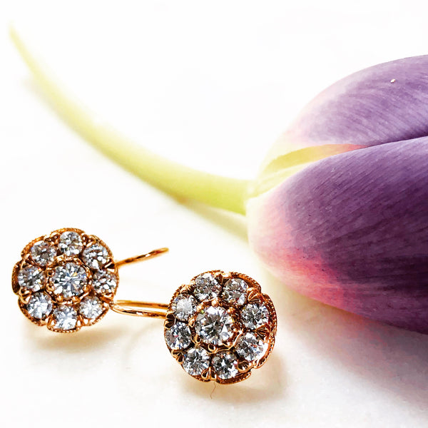 14K Rose Gold Diamond Cluster Earrings.