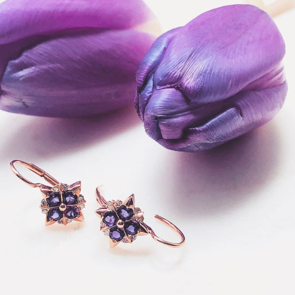 14K Rose Gold Amethyst and Diamond Earrings.