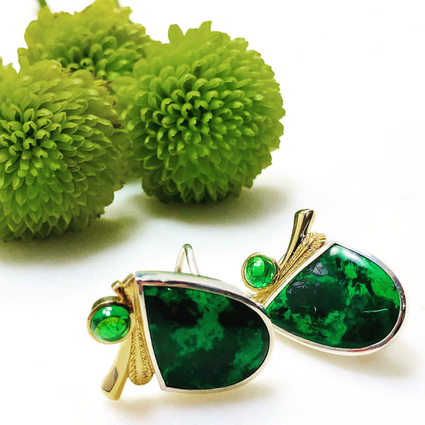 SS and 14K Yellow Gold Mawsitsit & Tsavorite Garnet Earrings.