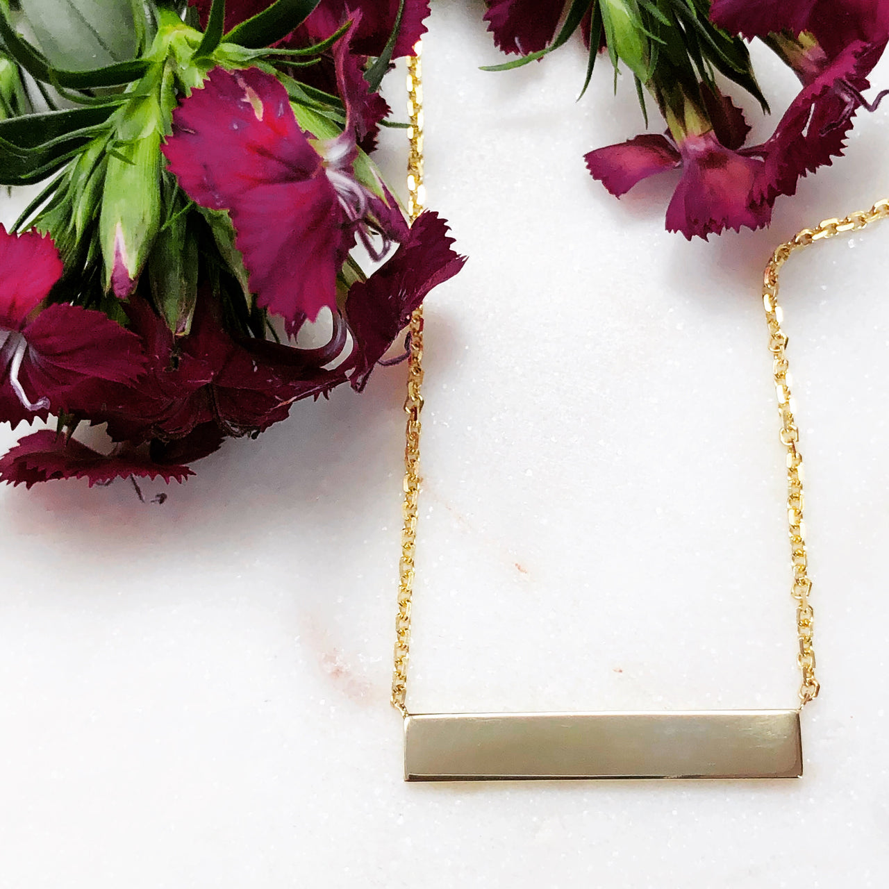 14K Yellow Gold Plain Bar Necklace.