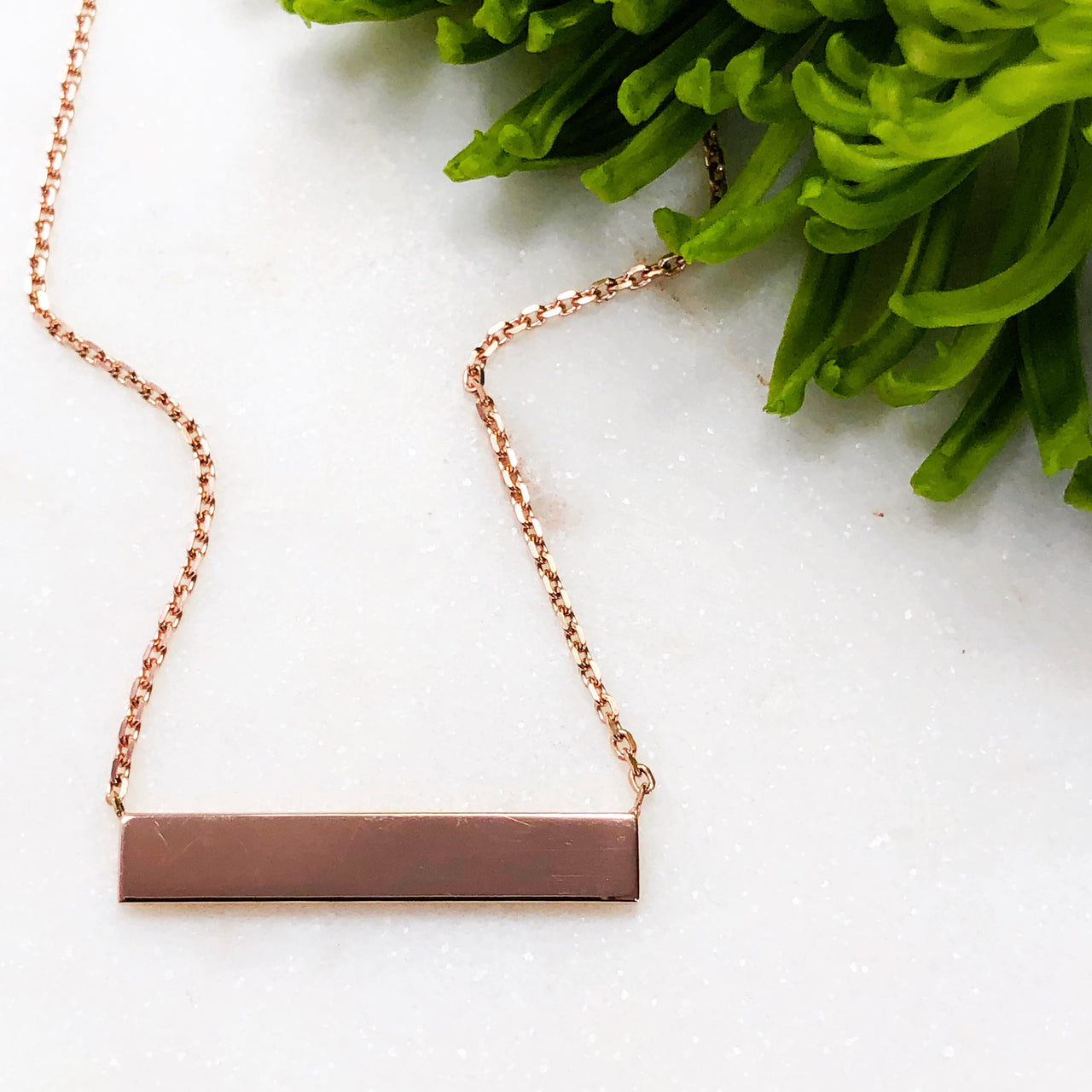 14K Rose Gold Plain Bar Necklace.
