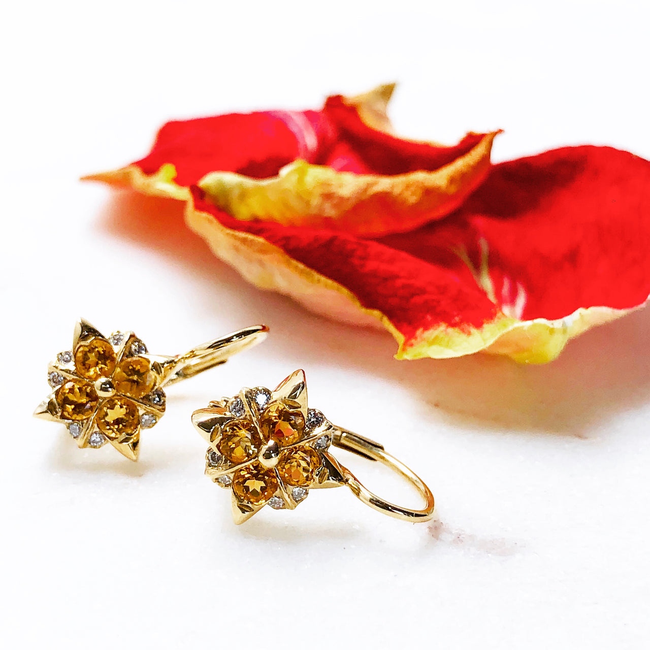 14K Yellow Gold Citrine and Diamond Earrings.