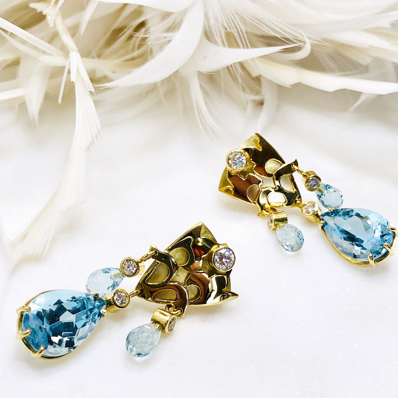 18K Yellow Gold Aquamarine & Diamond Earrings.