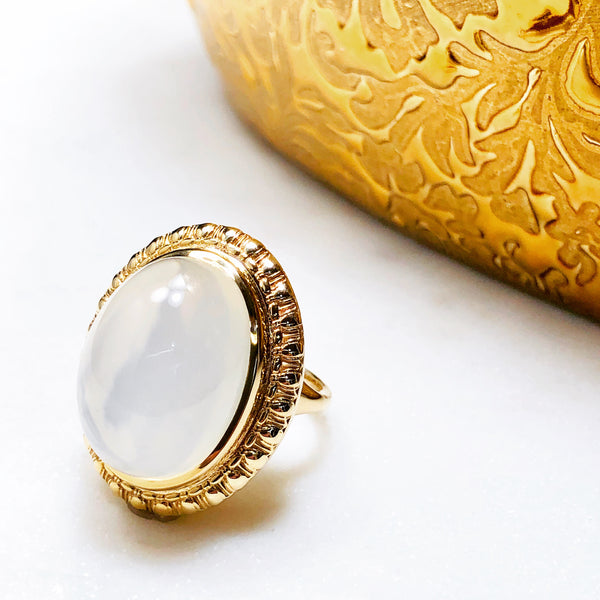 14K Yellow Gold Moonstone Ring.