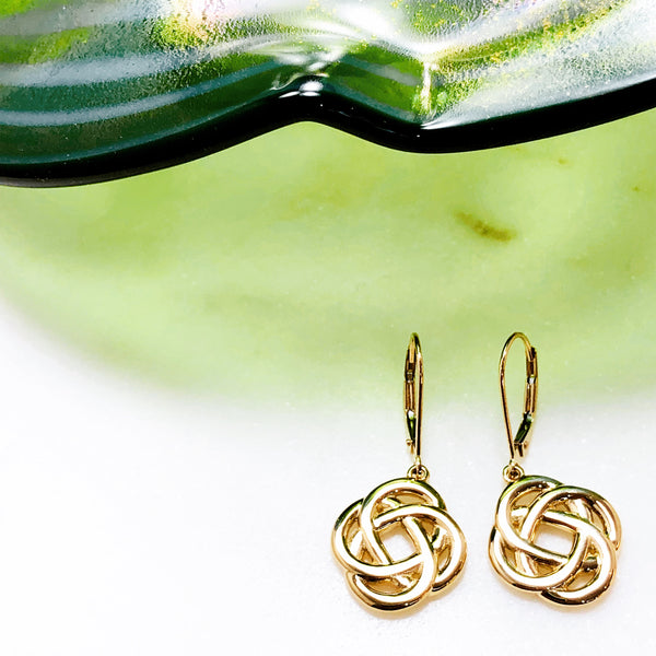 14K Yellow Gold Celtic Knot Earrings.
