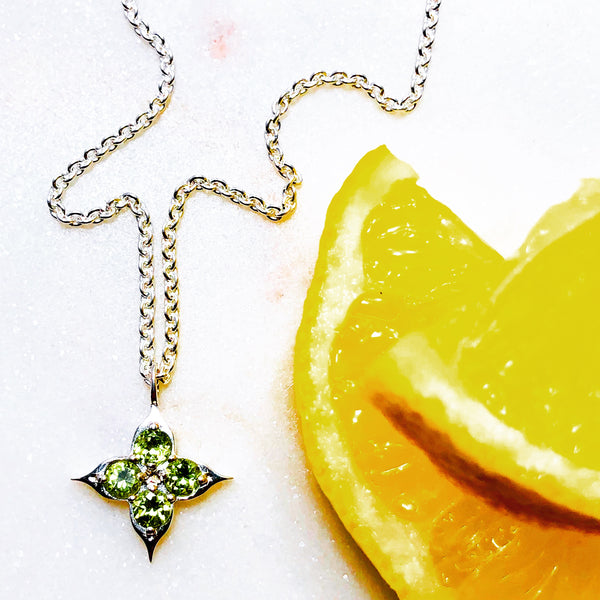 Sterling Silver Compass Peridot Necklace.