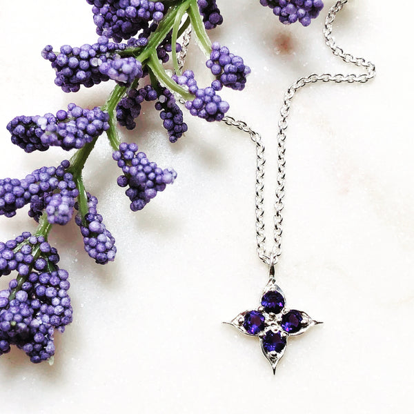 Sterling Silver Compass Amethyst Necklace.