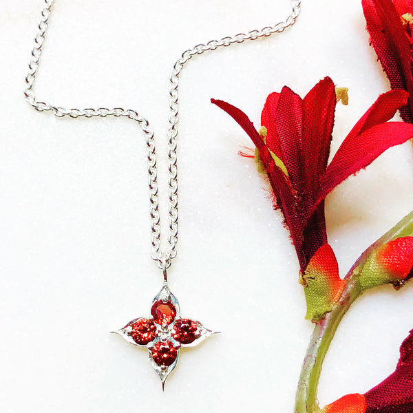 Sterling Silver Compass Garnet Necklace.