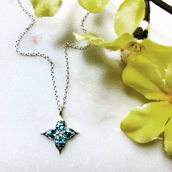 Sterling Silver Compass Aquamarine Necklace.