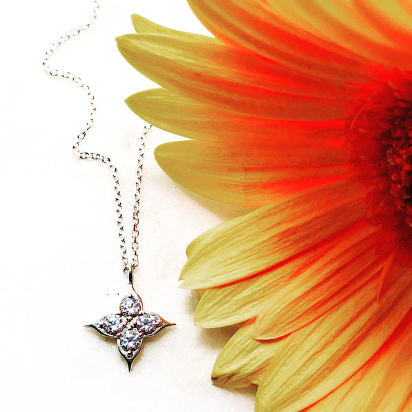 Sterling Silver Compass Cubic Zirconia Necklace.