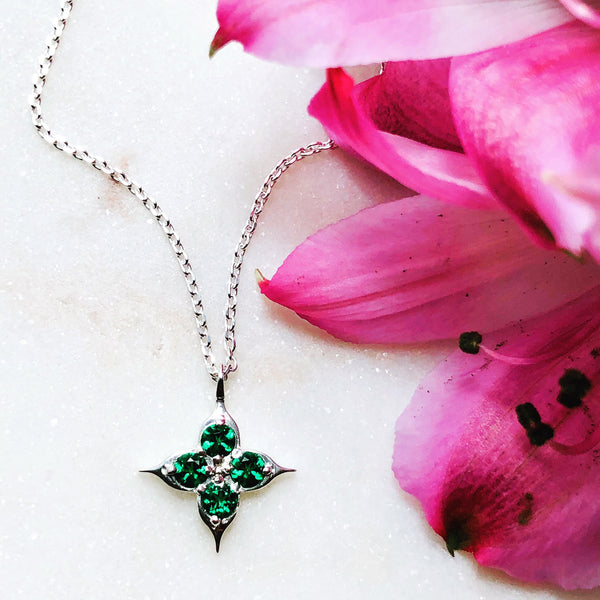 Sterling Silver Compass Imitation Emerald Necklace.