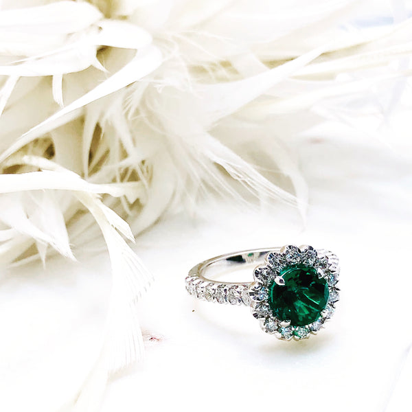 14K White Gold Chatham Emerald and Diamond Ring.