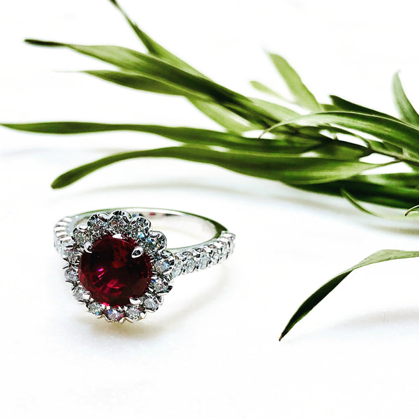 14K White Gold Chatham Ruby and Diamond Ring.