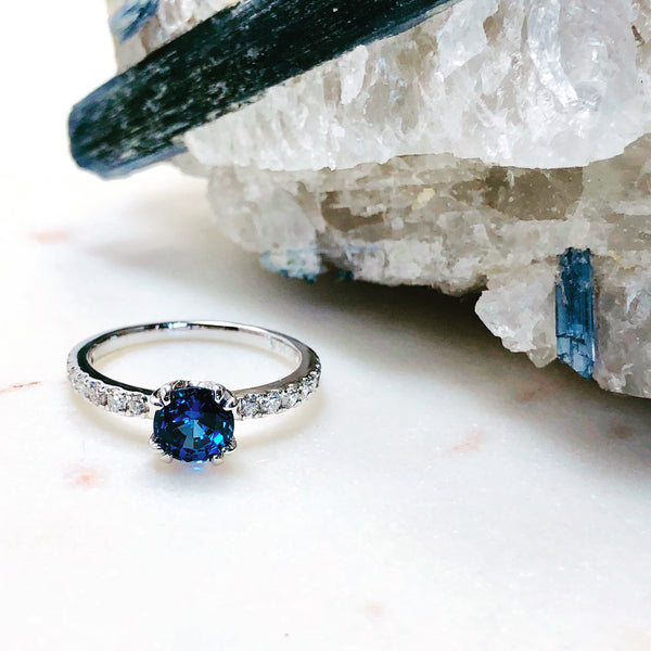 14K White Gold Chatham Sapphire and Diamond Ring.