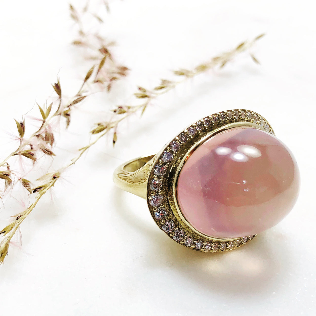18K Yellow Gold Rose Quartz and Diamond Ring.