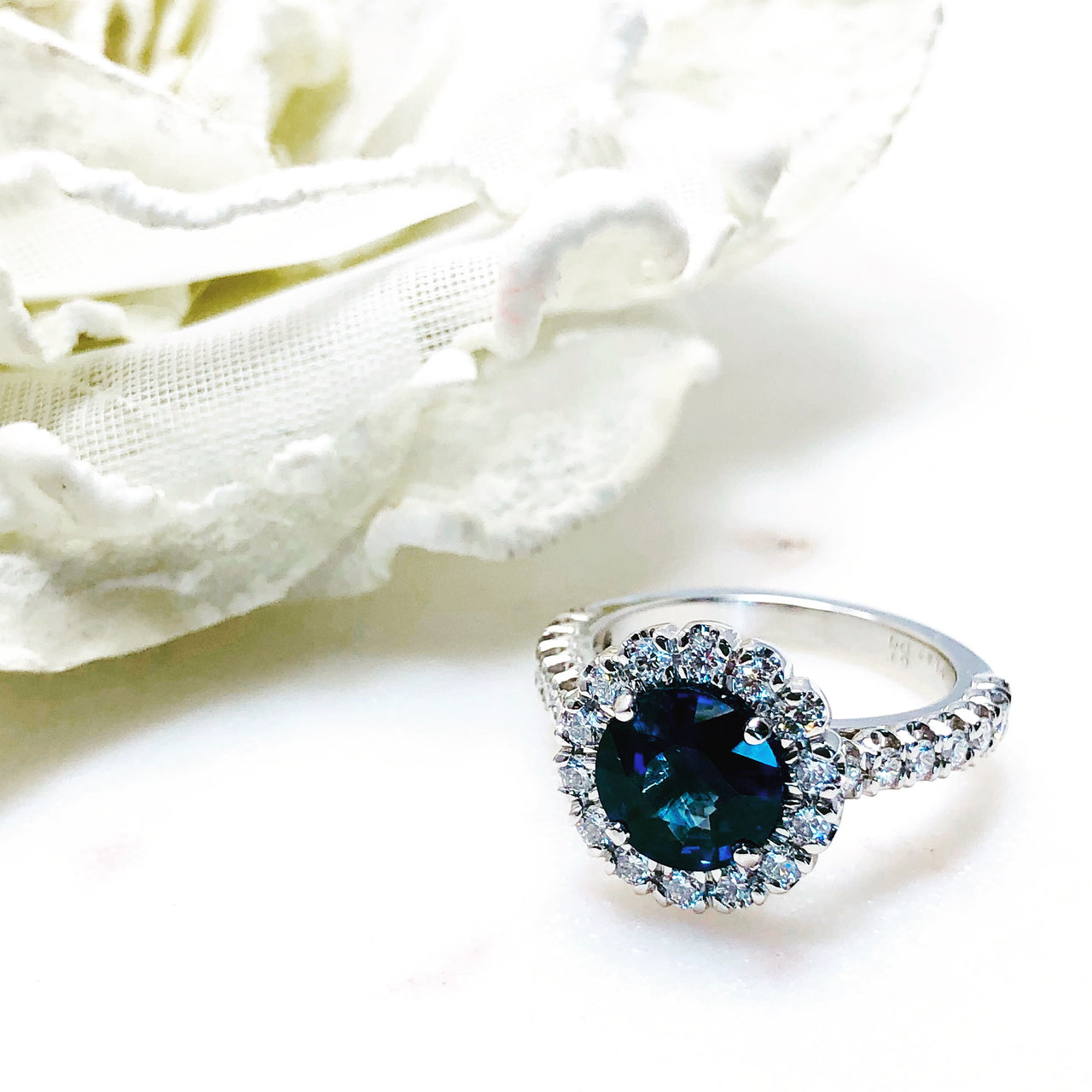 Platinum Natural Blue Sapphire and Diamond Ring.