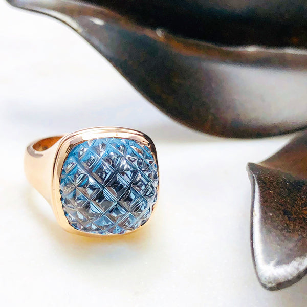 14k Rose Gold Blue Topaz Ring.