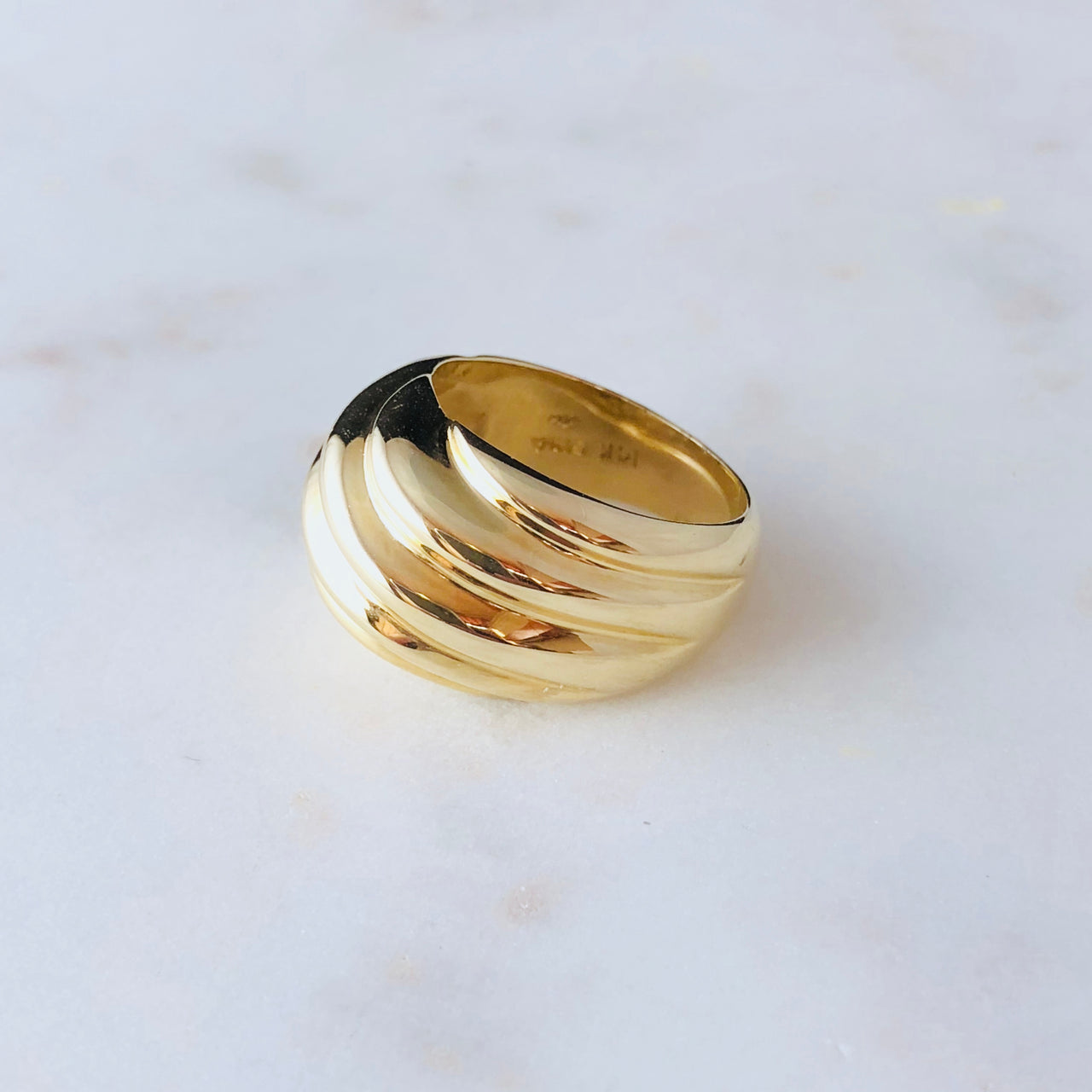 14K Yellow Gold Dome Ring.