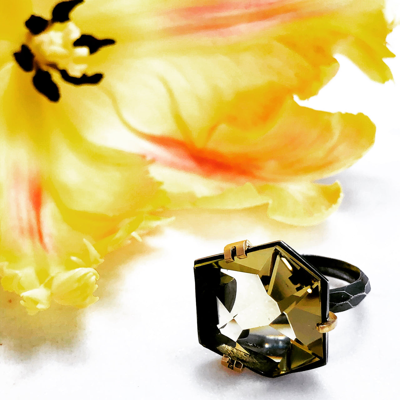 Sterling Silver/ 18K Yellow Gold Citrine Ring.